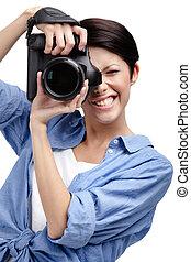 Woman-photographer takes photos - Woman-photographer takes...