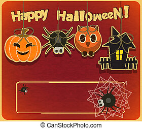 Halloween card - Retro Halloween Card in Vintage Style with...
