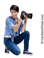 Lady-photographer takes photos - Lady-photographer takes...