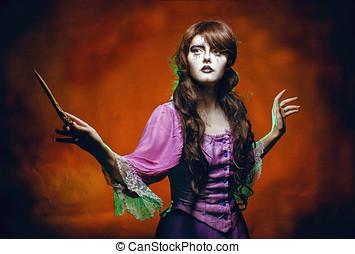 sorcière, magie, baguette