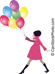 Pregnant woman walking with balloon - Beautiful young...