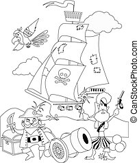 Pirates, coloring page - Pirates with a cannon and a ship,...