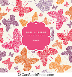 Floral butterflies frame seamless pattern background -...