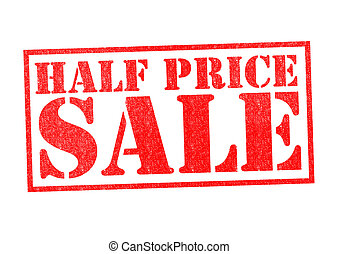 HALF PRICE SALE Rubber Stamp over a white background