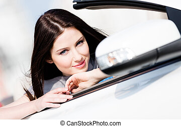 Close up of woman in the auto