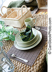 Table setting in natural colors - home interiors.