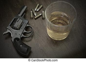 fusil, balle, boissons alcoolisées
