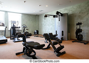 bright gym with a lot of windows - bright european gym with...