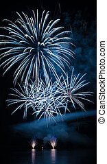 Fireworks - A fascinating fireworks on a lakeside