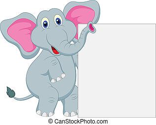 funny elephant cartoon - vector illustration of funny...