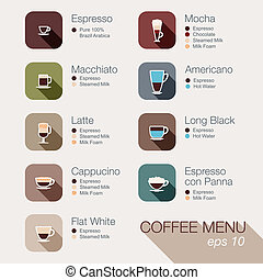 Coffee vector icon set menu Buttons for web and apps Coffee...