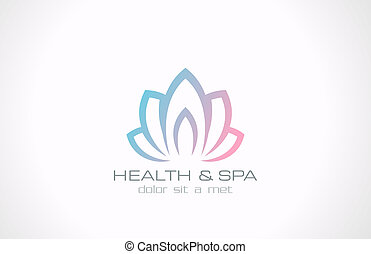 Lotus flower abstract vector logo design template. Health &...