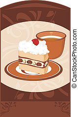 Saucer with cake and coffee cup on the ornamental brown...