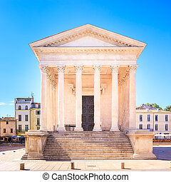 La Maison Carree roman temple landmark Nimes, France - La...