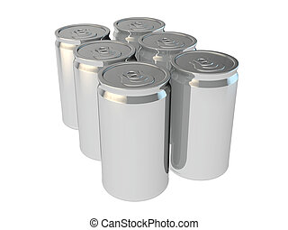 6 pack of silver aluminium cans - blank packaging 3d render...
