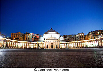 Piazza del Plebiscito, Naples, Italy - Night view of...