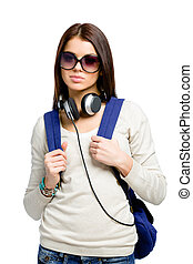 Teenager with knapsack and headphones