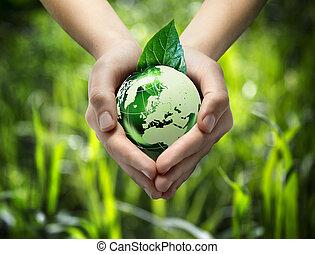 verde, mundo, Coração, mão, -, gra