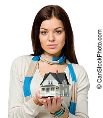Woman hands small model house