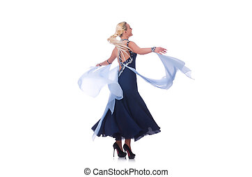 Woman dancing on the white