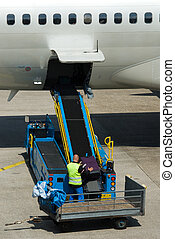 loading suitcases on plane at the airport