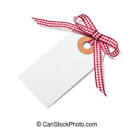 White tag with red ribbon bow isolated on white