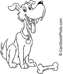 Black and white cartoon dog with bone - Black and white...