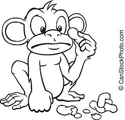 Black and white cartoon monkey with peanuts - Black and...