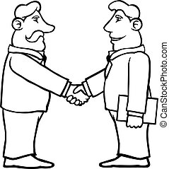 Black and white business men shaking hands