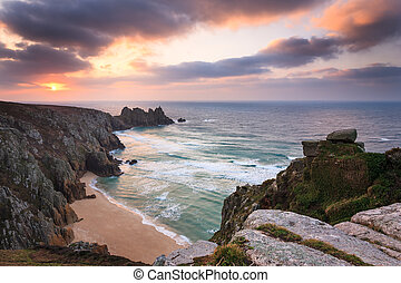Dawn on Treen Cliffs Cornwall - Dramtic sunrise over...