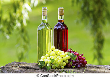 Wine bottles! - Bottles of wine and grapes in the sun.