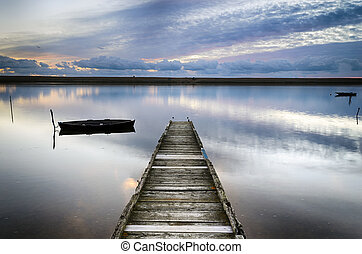 An Old Wooden Jetty - An old wooden jetty on the Fleet...