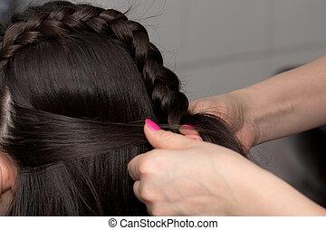 tecer, tranças, cabelo, salão