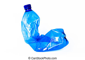 Empty Plastic bottle - Blue Plastic bottle isolated on white...