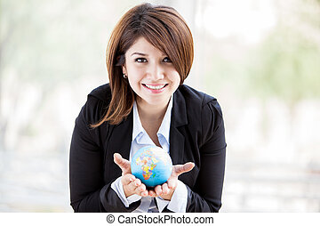 The world is in your hands - Beautiful Hispanic business...