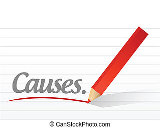 causes written on a white piece of paper illustration design...