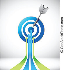 leader arrow and target illustration design over a white...