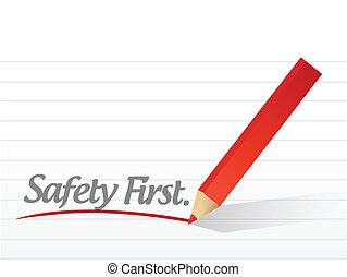 safety first written on a white piece of paper. illustration...