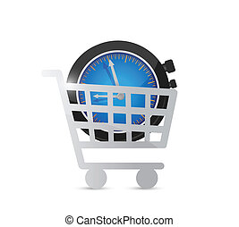shopping cart and watch illustration design over white