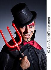 diabo, conceito, dia das bruxas, traje, homem