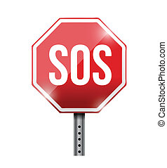 sos road sign illustration design over a white background