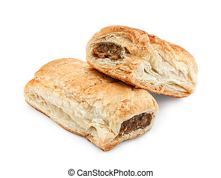 isolated sausage rolls - Freshly baked pair of sausage rolls...