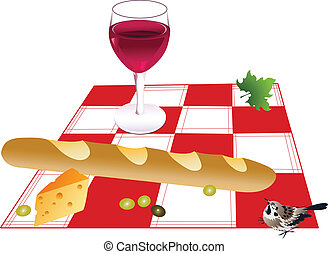 Picnic - Baguette, cheese, glass of wine and olives on a...