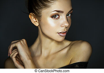 young woman - beautiful women on grey background