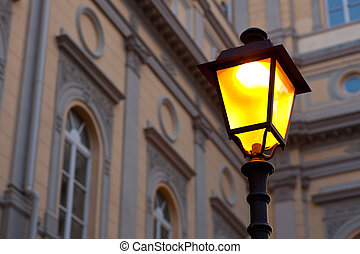 Streetlamp - View of illuminated streetlamp in Trieste,...