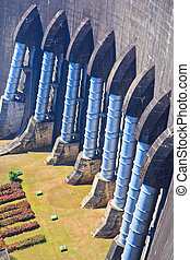 The power station at the Dam in Thailand. The dam a capacity...