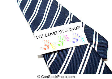 We love you dad with colorful hand prints tag on blue tie...