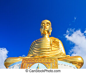 Golden Buddha Wat Maha Chedi in Prachuap Khiri Khan,...