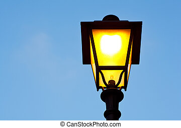 Streetlamp in the blue sky in Trieste