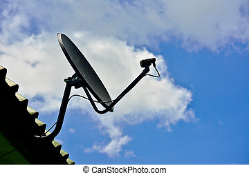 home satellite dish with sky on roof